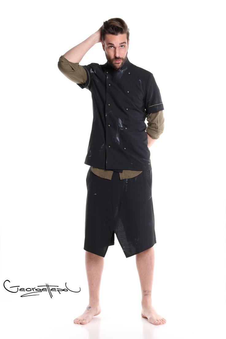 Jacket black canvas - Military linen shirt - Bermuda black canvas #bermuda #bottoms #canvas #fashion #man #painted #summer #shirt #linenshirt #black #jacket #chef #iammyself #military #black #style #georgettepol