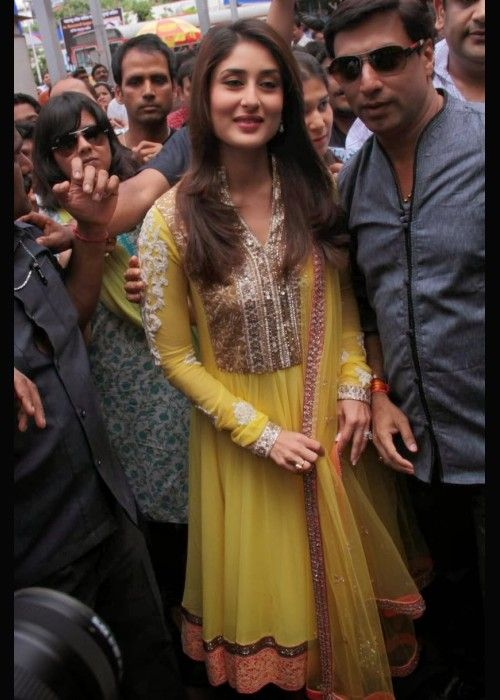 Buy Bollywood Kareena Kapoor Yellow Anarkali Replica US$ 93.11 . Shop online - bollywood-ankle-length-anarkali.blogspot.co.uk/2014/04/buy-bollywood-kareena-kapoor-yellow.html