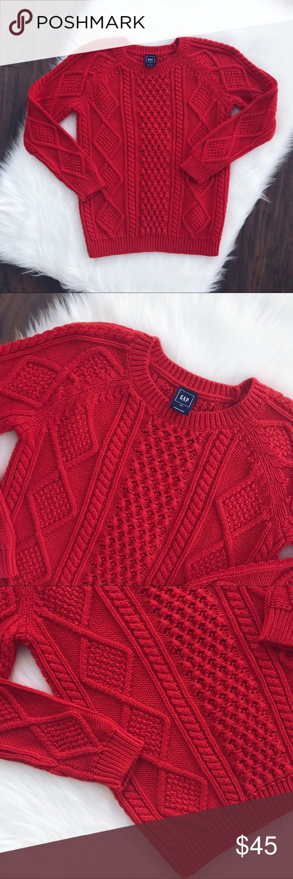 🥂NEW YEAR SALE🥂GAP Red Sweater GAP Red Sweater, size XS, super great quality, brand new without tags, this is a GAP retail store bought sweater, not outlet, measurements upon request, 3/4 sleeves. GAP Sweaters