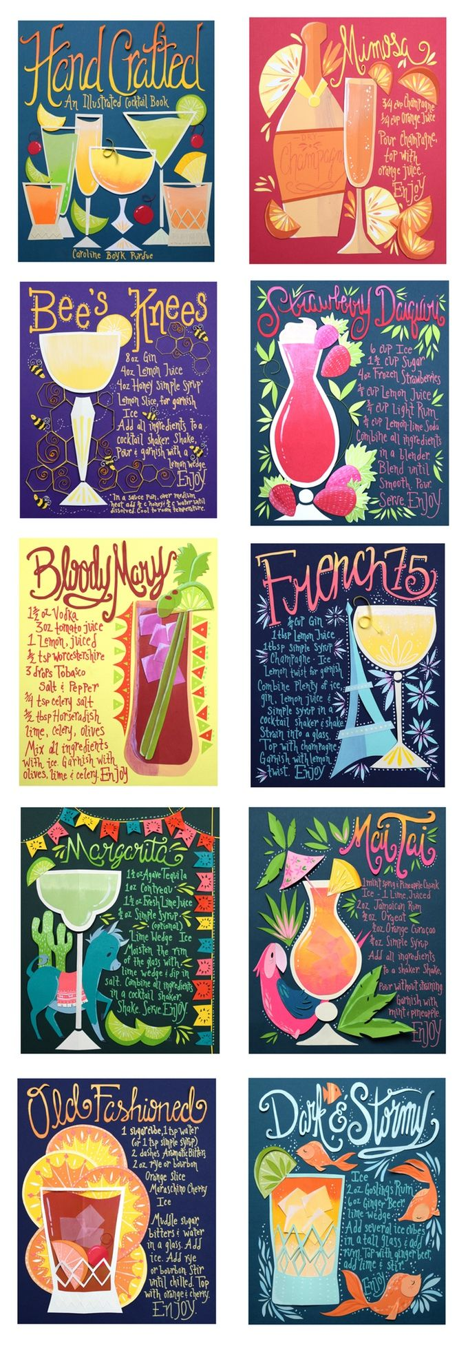 Art meets cocktails in this fifty recipe unique and fully illustrated cocktail book!
