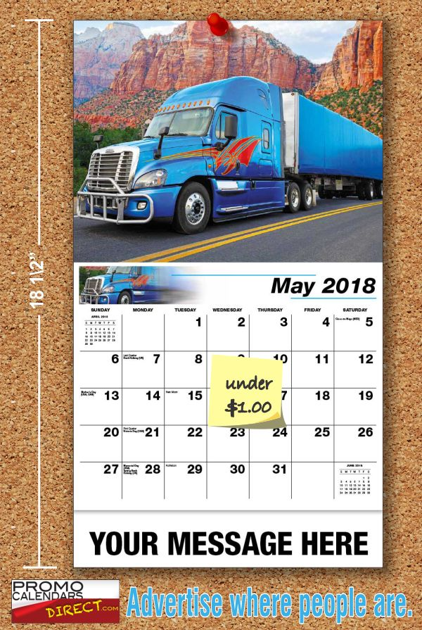 Getting the most from your Custom Big Rigs Advertising Calendars  Personalized Advertising Calendars, are the most cost effective promotional gift item there is. No other Promotional Item can compare to its cost per day value to you, or daily usefulness to its recipient. Your Personalized Custom Big Rigs Calendar will remain in the home or office an entire year. This year, try sending out Personalized Advertising Calendars with your Business, Organi... see more at…