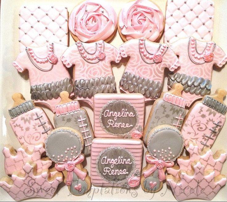 baby shower cookies baby cookies sugar cookies pink baby showers baby