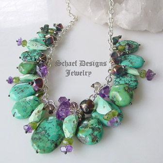 One of a Kind turquoise & gemstone necklace by Schaef Designs Jewelry