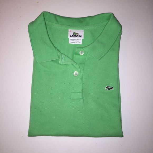 Lacoste green polo shirt classic fit large 46 Lacoste classic fit two button Green polo shirt size 46 like a large or extra-large fantastic color like new condition Lacoste Tops Tees - Short Sleeve