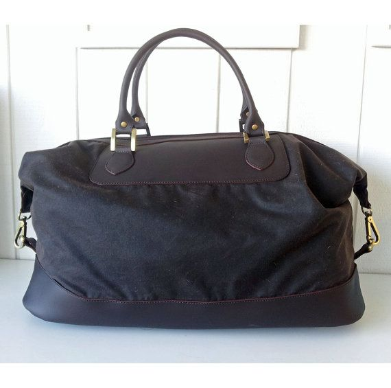 Men's Travel Bag Weekender, Overnight bag, Handmade Brown Leather and Oilskin (waxed cotton) Travel Bag or Weekend Bag