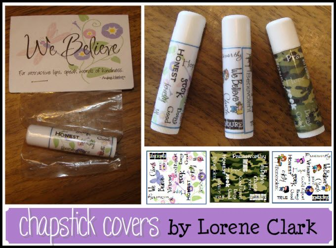 Chapstick covers- check out the camo for boys. She also has links for matching bag toppers and also blue camo and a mothers day chapstick. Here's a link for a jpeg version of chapstick covers: http://eysigns.blogspot.com/2011/04/chap-stick-covers.html#
