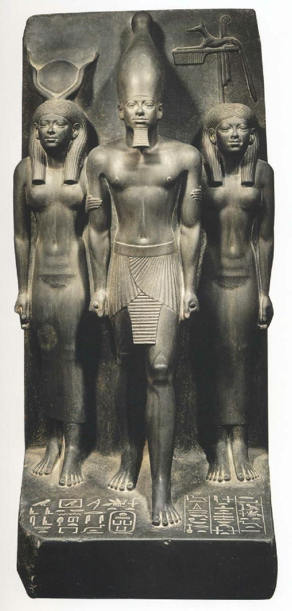 """Triad of Menkaure (between the goddess Hathor and the goddess protecting the """"nome"""" [district] of Cynopolis – 4th dynasty (c. 2600-2480 BC) Cairo, Egyptian Museum"""