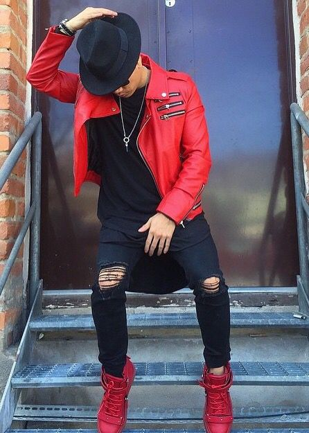 Red Biker Jacket Zipper, Ripped Denim Jeans, Black Oversize T- Shirt, Red Guiseppe Zanotti Sneaker