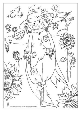 scarecrow colouring pagereminds me of the coloring page we all got in the grade for a fall coloring contest i was still am so in love with fall that i - Halloween Coloring Contest 3