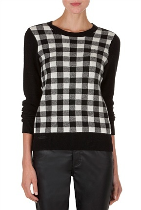 Country Road-Women's Knitwear Online - Check Front Knit