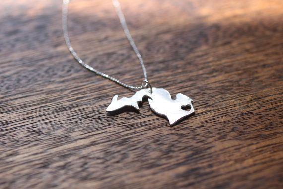 Michigan Necklace: Michigan Luv, Michigan Necklaces, Heart Michigan, Heart Necklaces, Michigan 3, Mittens Pride, Puremichigan, States Necklaces, Pure Michigan