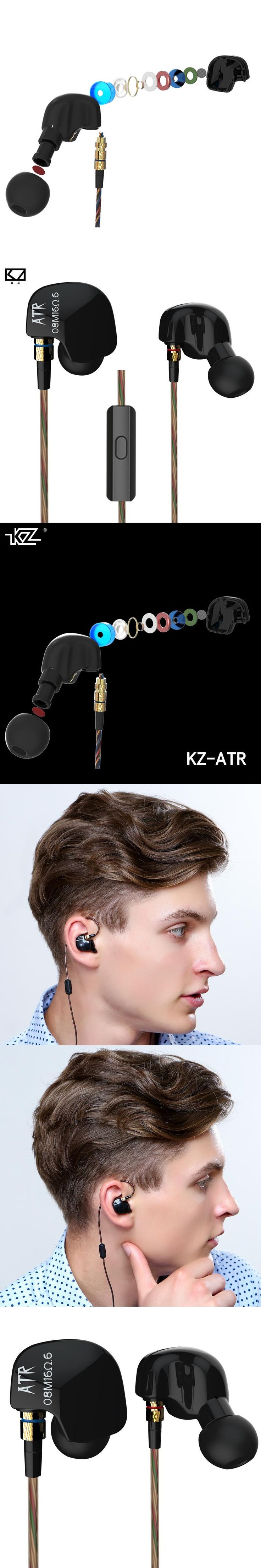 Original KZ ATR In-Ear Earphone Noise Cancelling Earbuds with Mic Sports Stereo Bass HIFI Headset ABS Dynamic Unit for iPhone 7