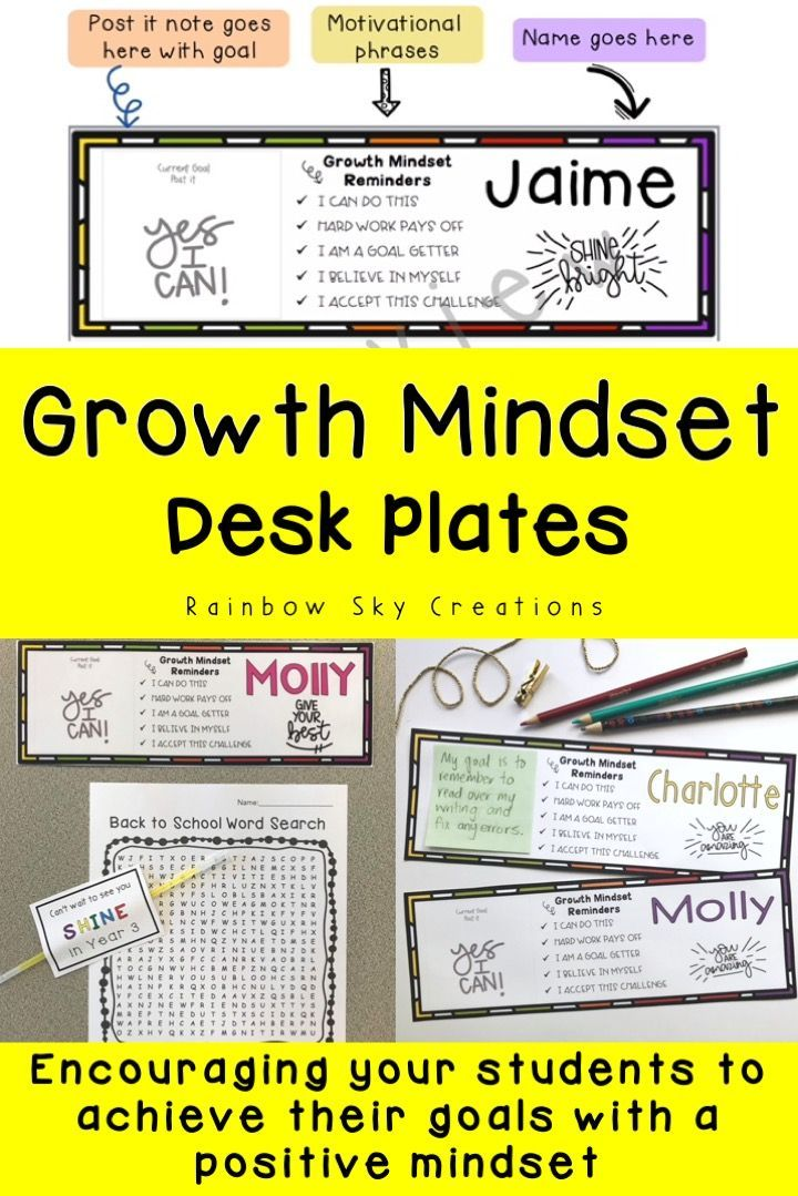 Check out these Growth mindset desk plates suitable for upper elementary students. Editable desk tags include a spot for students to record their current goal and 5 growth mindset statements to encourage positive self-talk. Use the name tag template to personalize for your students, provide daily affirmations and add to your class decor. Desk charts are editable and come in color and black and white versions {desk tags, desk strips, desk name charts} #rainbowskycreations