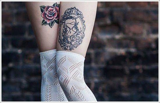 Tatuagem Feminina na Perna   Retrato e Rosas