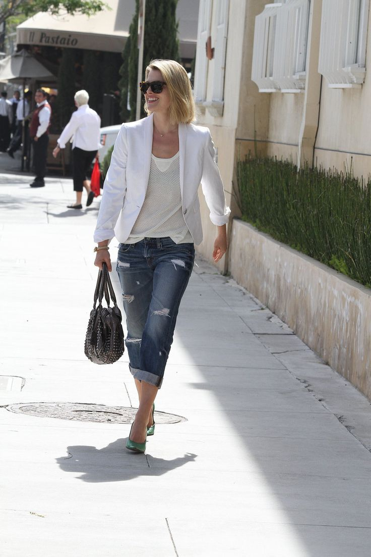 White blazer with white mesh tank paired with boyfriend jeans and a pop of mint in the shoe ...