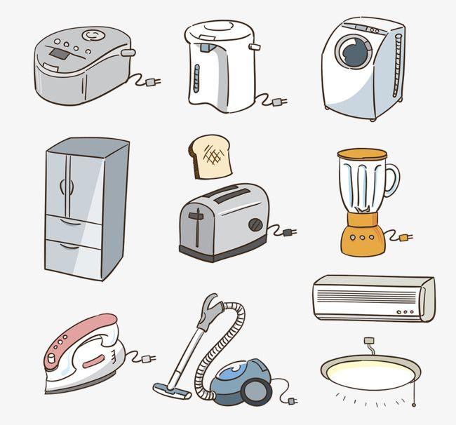 كرتون المصور الأجهزة المنزلية مجموعة أدوات المطبخ مكنسة كهربائية تكييف الهواء Png والمتجهات للتحميل مجانا Cute Food Drawings Cute Kawaii Drawings Kitchen Cartoon