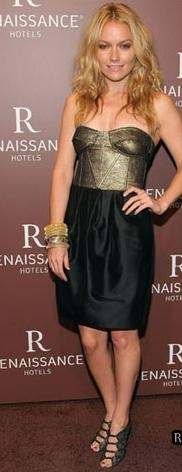 Who made Becki Newton's gold and black strapless dress and black shoes that she wore to the Opening of Renaissance NY Hotel 57, New York?