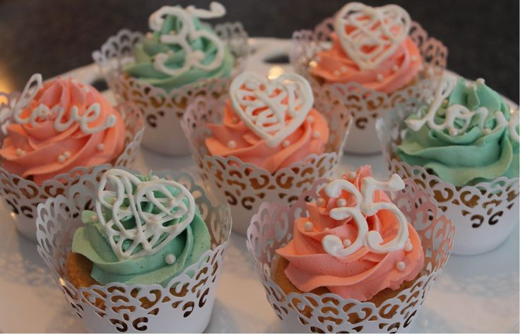35th anniversary cupcakes...traditional and modern coral and jade colors