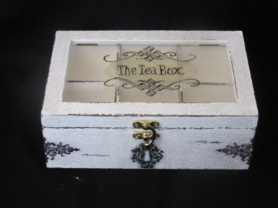 Wooden tea box by BoutiqueClaire on Etsy
