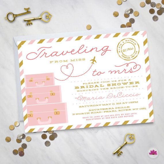 Traveling from Miss to Mrs – Destination Wedding Bridal Shower Invitation. Travel Theme Bridal Shower. The adventure begins.
