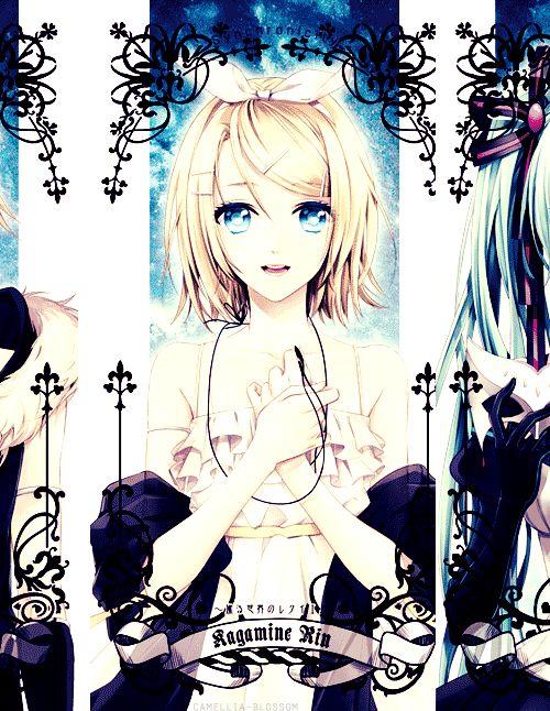 Images du gif ~~ La blonde : Kagamine Rin /// La bleue : Hatsune Miku /// La rose : Luka Megurine