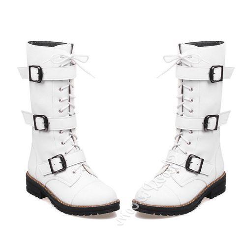 Beste Online Shoespie Mode Gespen Lace Up Platte Laarzen