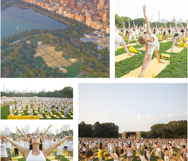 10,000 yogis gathered together in Central Park all dressed in white as a symbol of peace