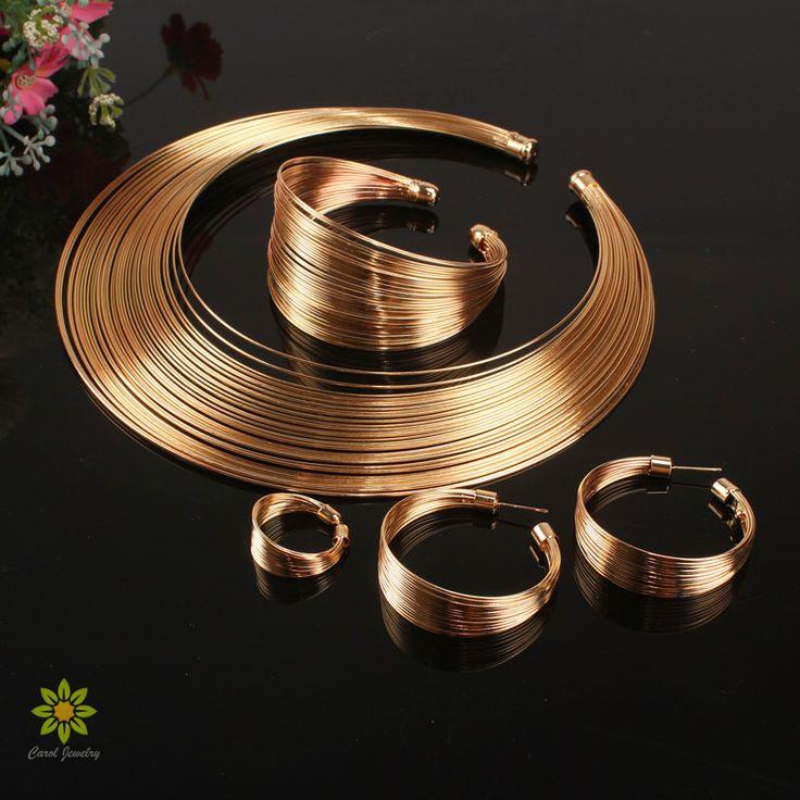 Set di gioielli indiani del metallo di modo legare coppie di torsione collane del choker del braccialetto set di orecchini ad anello per le donne vestono il regalo accessori da sposa