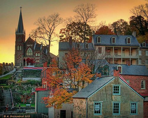 Harpers Ferry ~ West Virginia ~ Sunset over the lower town of historic Harpers Ferry.