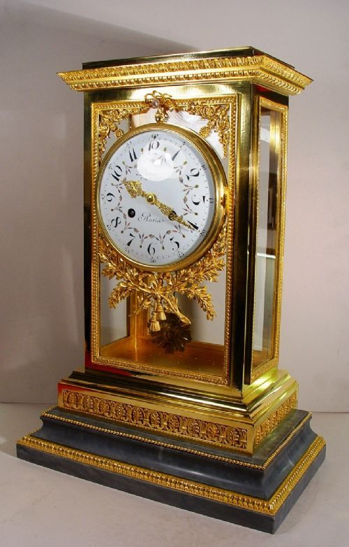 A Stunning Large Size Mid 19th Century Gilt Brass Four-glass Clock Mantel Clock By Deniere, Paris | 417133 | Sellingantiques.co.uk