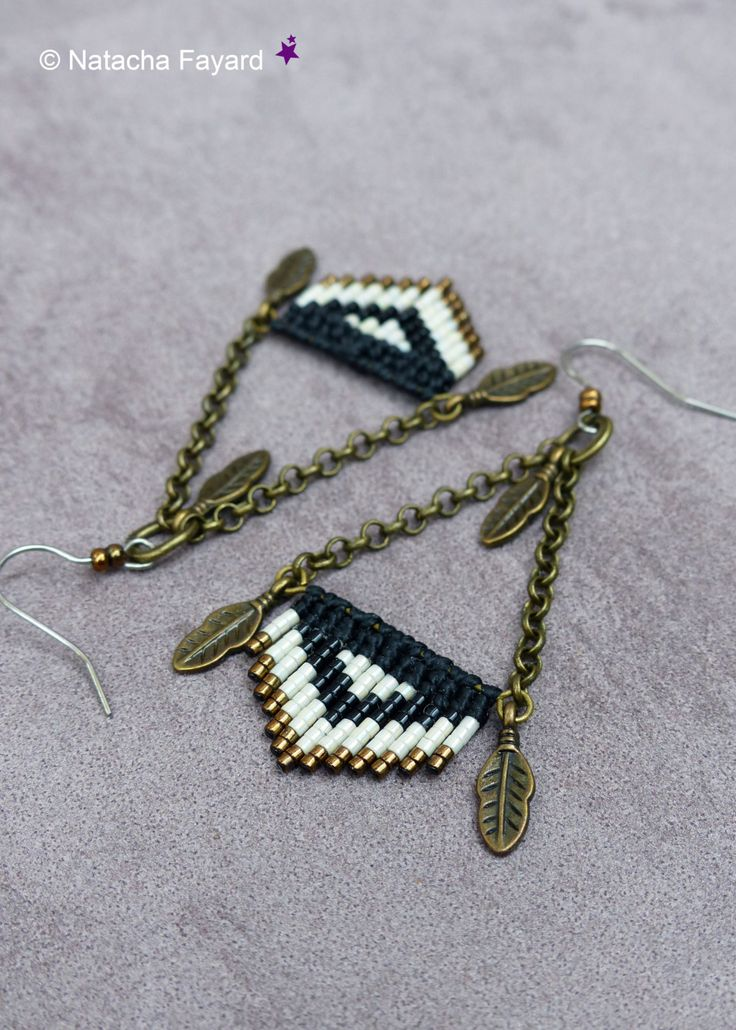Micro macrame black and white bronze graphic minimalist chevrons stripes feather surgical steel earrings boho chic designer made in France