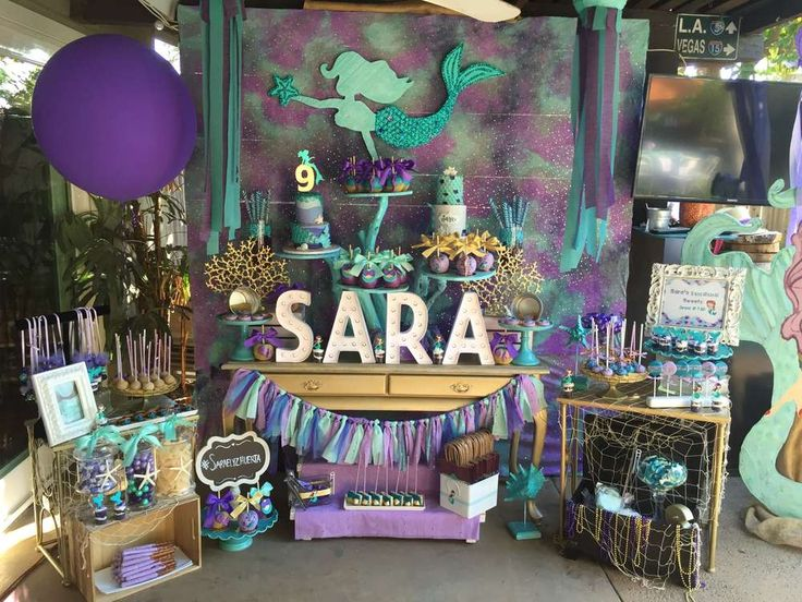 Mermaid parties are hot at the moment. This one is awesome. Just how cool is that dessert table?! See more party ideas at CatchMyParty.com
