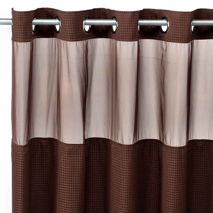 Hookless  Waffle Chocolate 71 W x 74 L Fabric Shower Curtain and Liner Set bed bath beyond 42 best Brown images on Pinterest shower