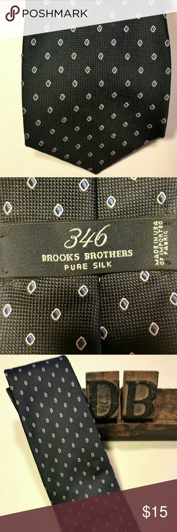 Brooks Brothers, Necktie, Pure Silk Brooks Brothers necktie, pure silk.  Navy blue with lighter blue diamonds in a gold outline.  Husband had a bit of a necktie addiction and I'm trying to clean out the closets.  EUC! Brooks Brothers Accessories Ties