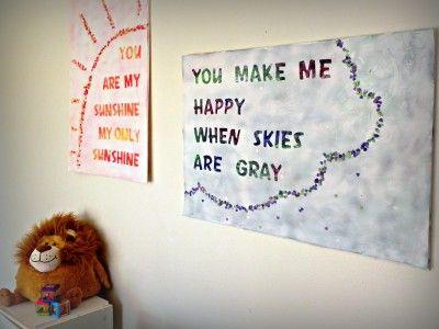 awwwWall Art, Fingers Painting, Songs Lyrics Art, Kids Room, Fingerpaint Songs, Kid Rooms, Lyric Art, Painting Projects, Song Lyrics