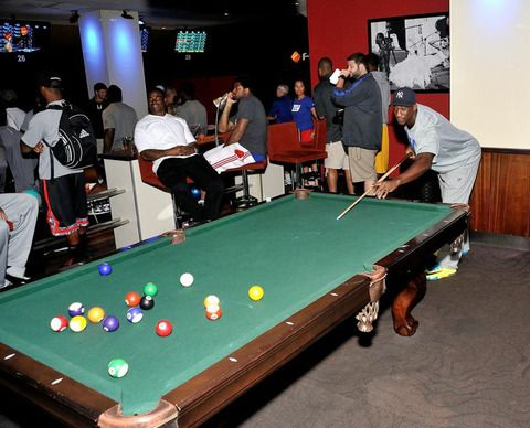 Beautiful NY Giants Coming Together As Team While Playing A Little Pool.