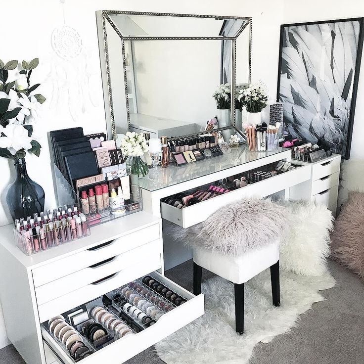 "949 Likes, 9 Comments - VANITY COLLECTIONS (@vanitycollections) on Instagram: "". ULTIMATE CLEAR COLLECTIONS PACK. . My fave layout for the top of my Malm dressing table. . This…"""