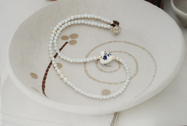 Hand made necklace with Moon stone and sweet water pearls, czech porcelain heart..