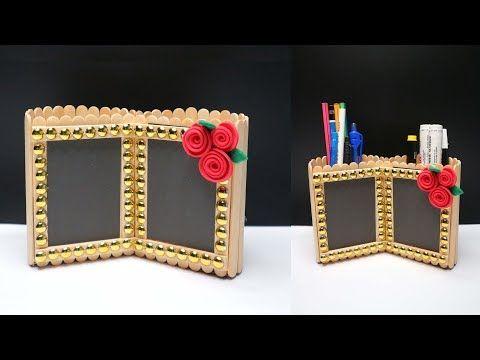 Ide Kreatif Bingkai Foto Dan Tempat Pensil Dari Stik Es Krim Popsicle Stick Craft Youtube Kerajinan Gagang Es Krim Kerajinan Kertas Tempat Pensil