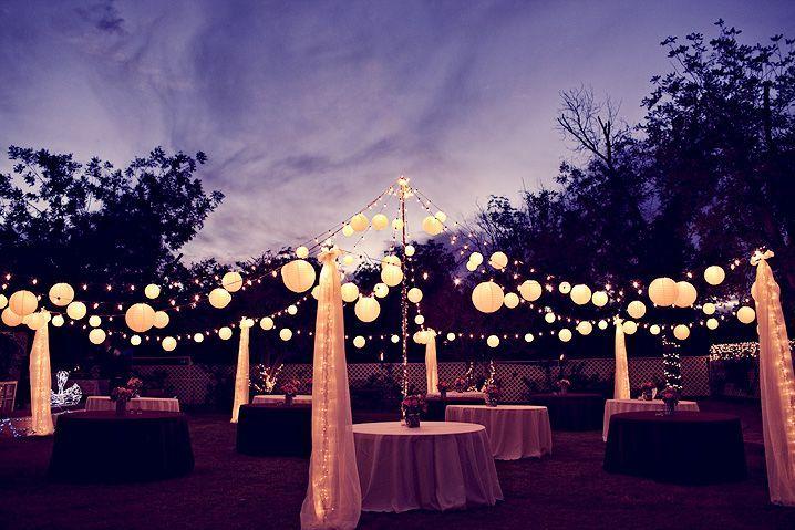 backyard engagement party ideas | Backyard wedding lighting: magical!!!