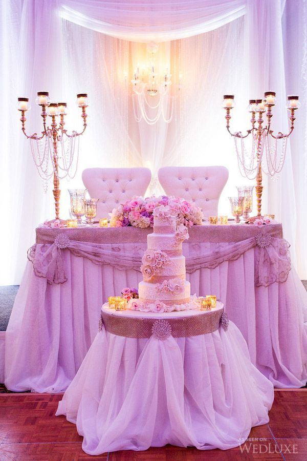 Amazing Setup At This White Uplighting Wedding Reception Diy Head Table DecorationsCake