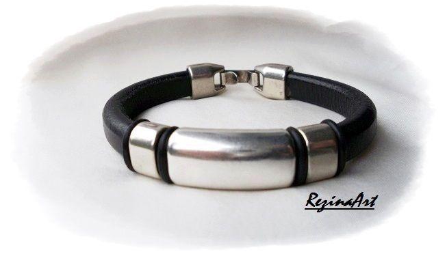 Fekete regaliz bőr karkötő...design 11.