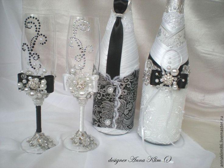 """Купить Бокалы """"Половинка моя"""" - черно-белый, свадьба черно-белая, свадебные бокалы"""