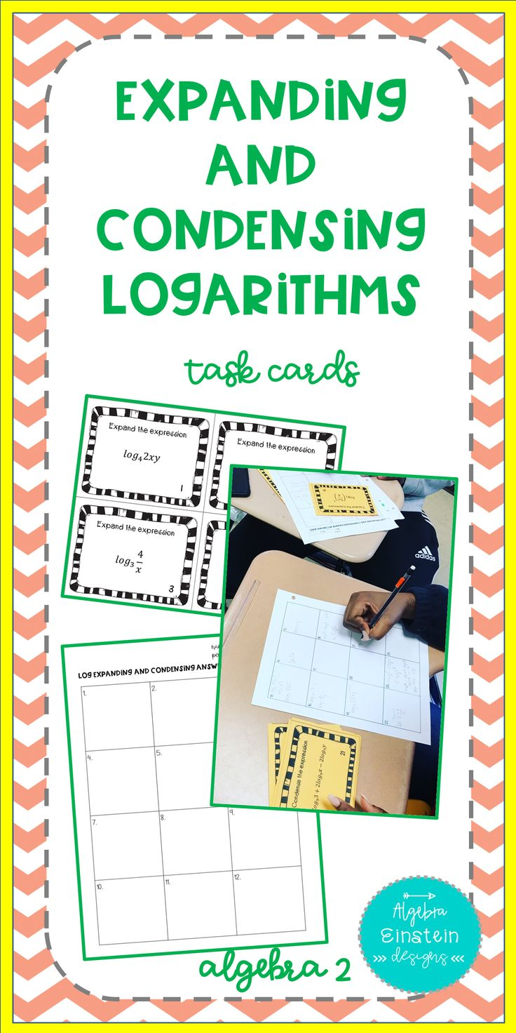Logarithms Expand and Condense Task Cards Algebra 2