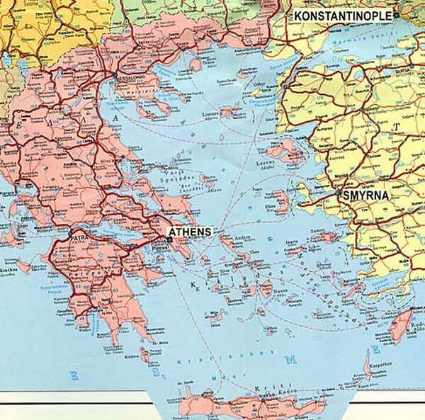 The Aegean Sea, showing Athens, Constantinople and Smyrna.