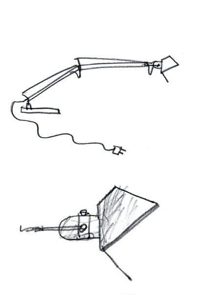 The first Tolomeo sketches by Michele De Lucchi and Giancarlo Fassina, 1986