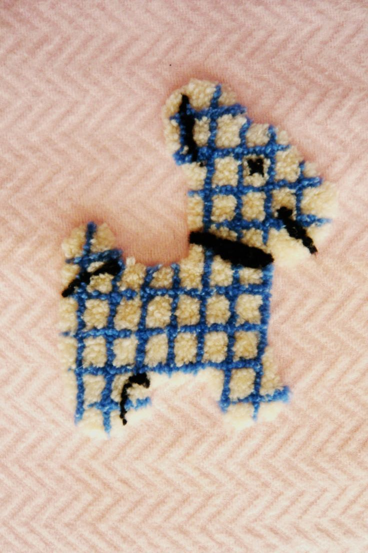 Bonavita crib for sale used - Vintage Baby Crib Blanket Pink With Hand Hooked Scottie Dog Applied In Center