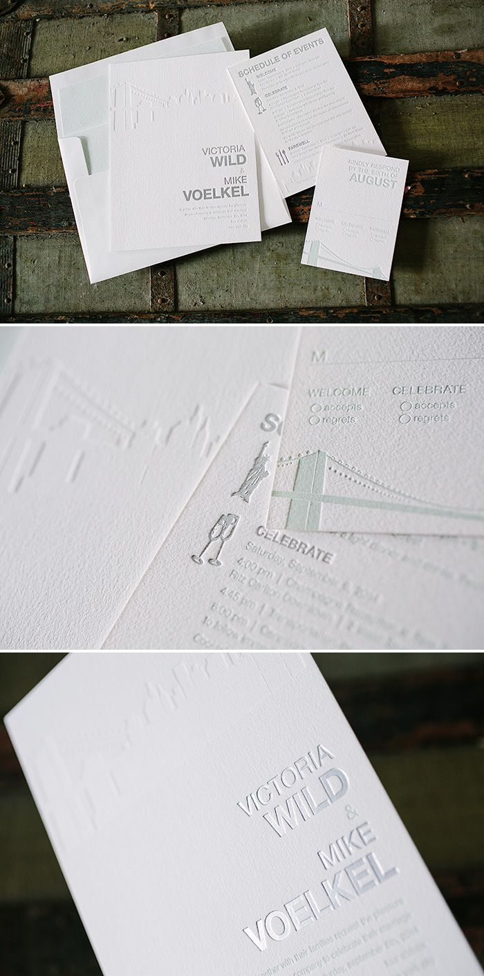 wedding cards with price in chennai%0A NYC Modern foil   letterpress New York City  skyline wedding invitations    Bella Figura
