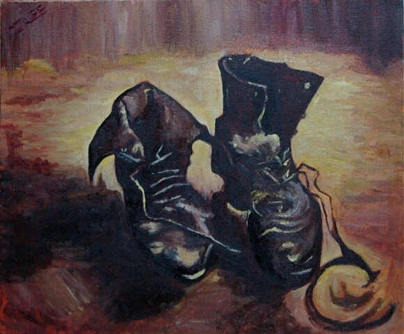 copy of a painting by Gogh, a pair of shoes