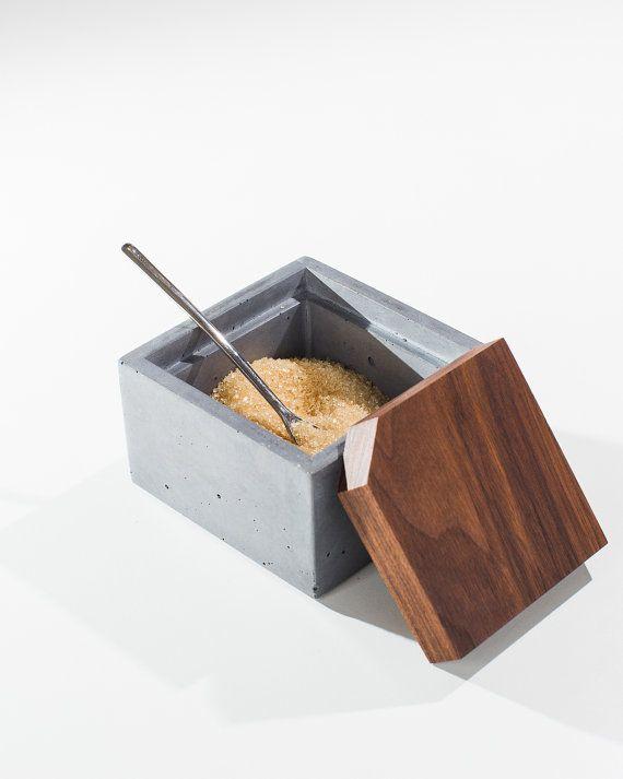 Gray Concrete Sugar Box with Dark American Walnut Wood Lid/ Sugar Container/ Minimalist Concrete box with lid